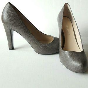 Franco Sarto grey snakeskin hidden platform heels